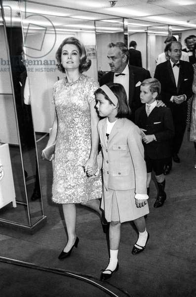"Princess Grace of Monaco and Prince Rainier III with Princess Caroline and Prince Albert (future Albert II) on liner ""Renaissance"" in 1966 (b/w photo)"