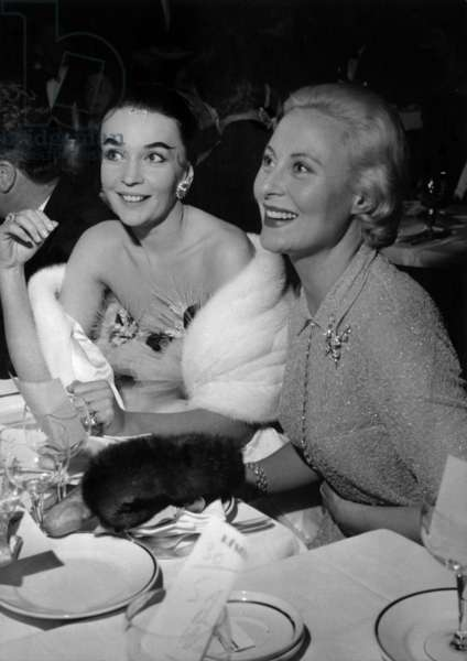 At The Premiere of The Show Prestige in Trhe Lido, in Paris, The Dancer Ludmilla Tcherina (L) and the Actress Michele Morgan, December 12, 1957 (b/w photo)