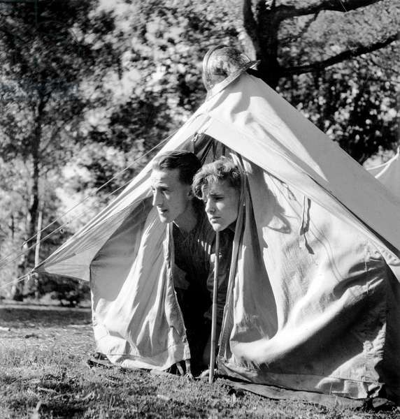 Boy Scouts during Preparing For Jamboree (Multi Ethnic Groups of Scouts Meeting) in France July 20, 1947 (b/w photo)