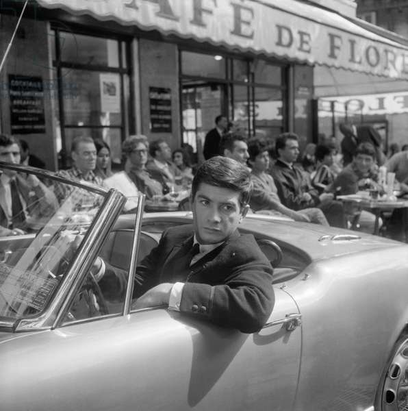 "French actor Jean Claude Brialy on set of film ""Les Godelureaux"" in Paris (Cafe de Flore), September 2, 1960 (b/w photo)"