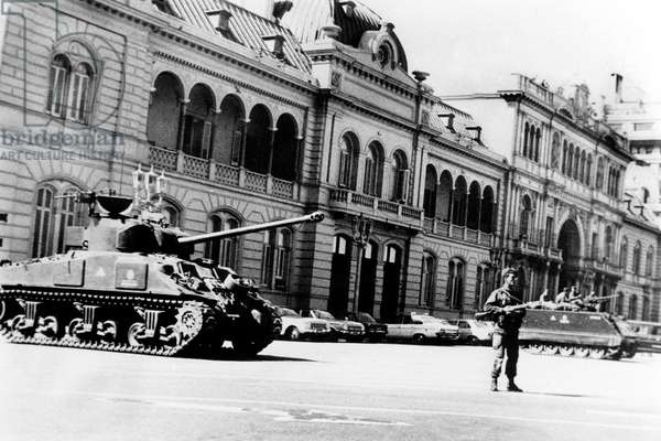 After The Military Putsch in Argentina, The Tanks Stay in Front of The Presidential Palace March 1976 (b/w photo)