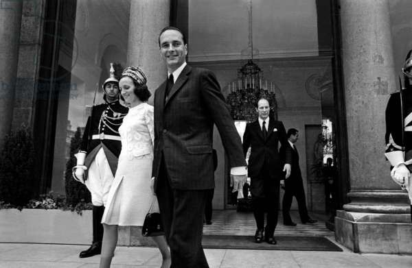 Jacques Chirac and his Wife Bernadette Leaving Elysee Palace in Paris After Meeting With Farahdiba on June 28, 1971 (b/w photo)