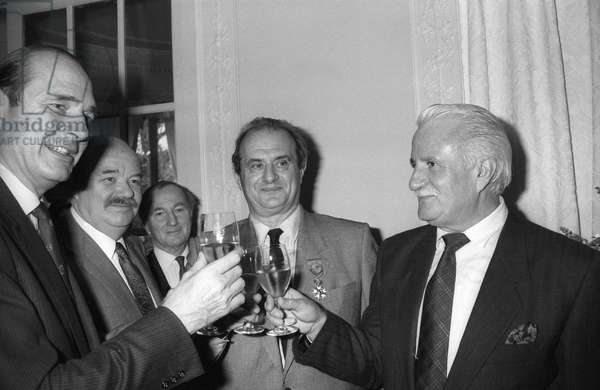 French cook Paul Bocuse has received the Legion of Honour, Pre catelan, Paris, February 11, 1987 : l-r : Jacques Chirac, Pierre Troisgros, Paul Bocuse and Roger Verge (b/w photo)