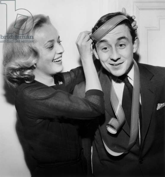French Actress Jeanne Moreau Congratulating Director Louis Malle For Movie Prize December 14, 1957 (b/w photo)