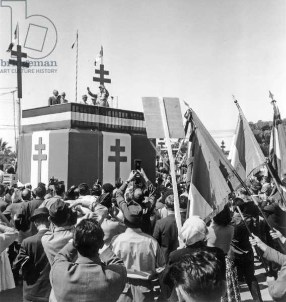 Charles De Gaulle in Oran, Algeria, June 6, 1958 (b/w photo)