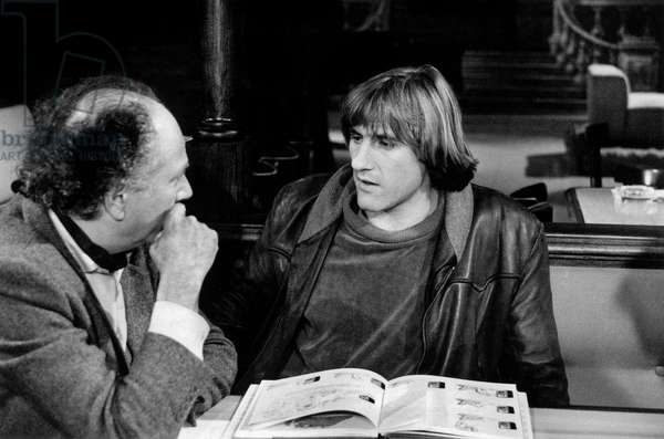 French Presenter Michel Polac (1930 - 2012) Presenting his TV Programme, here With French Actor Gerard Depardieu, December 12Th 1981 (b/w photo)