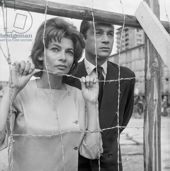 "On set of film ""Pitchipoi"" in Drancy, France, with Manka Ribowska and Etienne Aubray, August 19, 1960 (b/w photo)"