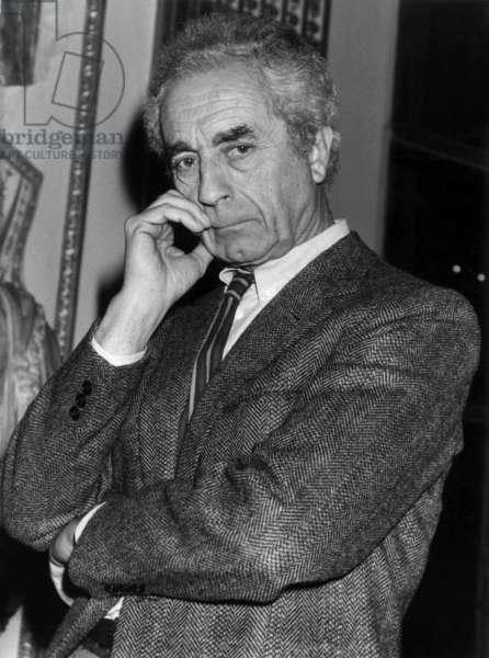 Italian Director Michelangelo Antonioni at Meeting of European Directors on November 14, 1984, Paris (b/w photo)