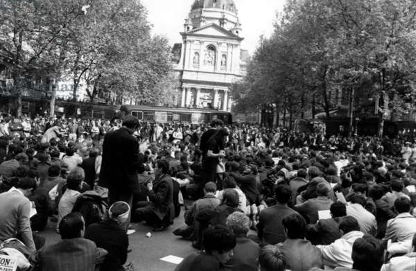 May 68 : Students Are Demonstrating Outside The Sorbonne, Paris, May 9, 1968 (b/w photo)