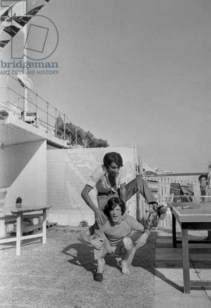 French Singers Herbert Leonard and Michel Fugain in Cannes (French Riviera) on August 5, 1968 (b/w photo)