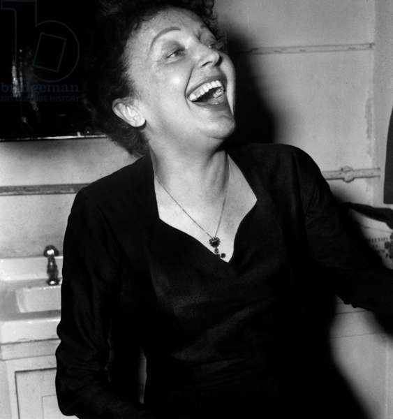 French Singer Edith Piaf After Concert in Melun November 21, 1959 (b/w photo)