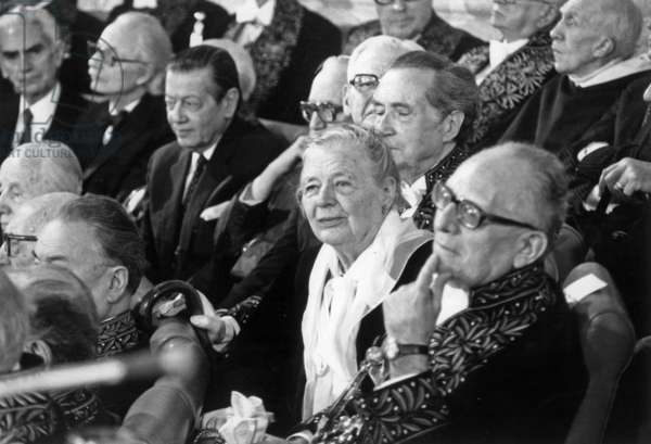 Admission of Marguerite Yourcenar at Academie Francaise in Paris on January 22, 1981 : here With Maurice Schumann (b/w photo)