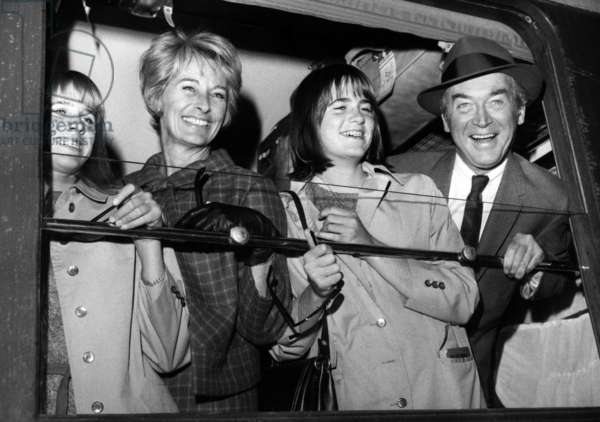 James Stewart With his Wife and Daughters at Saint Lazare Train Station, Paris, September 13, 1966 (b/w photo)