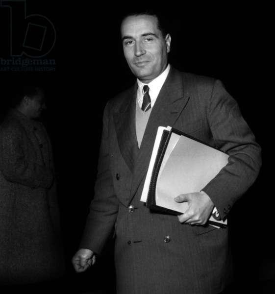 Francois Mitterrand (1916-1996) French Interior Minister, November 2, 1954 (b/w photo)