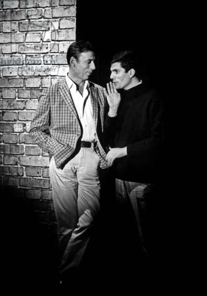 Actor Yves Montand With Director Jean Christophe Averty Preparing TV Programme Hapy News Yves of January 1, 1965 (b/w photo)
