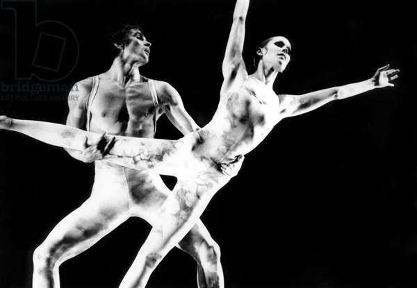 "Rudolf Nureev and Carolyn Carlson Dancing Ballet ""Tristan"" at Opera De Paris on November 12, 1974 (b/w photo)"