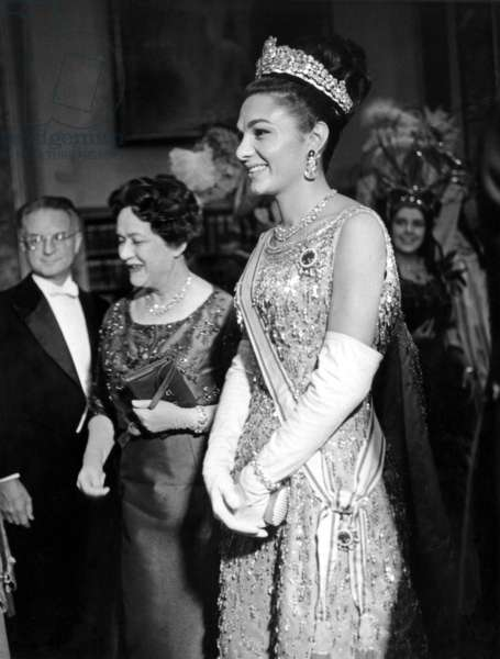 Queen of Iran Farah Diba Pahlavi at Paris Opera With Mrs Yvonne De Gaulle, Congratluting Opera Singer Denise Duval and Conductor October 14, 1961 (b/w photo)