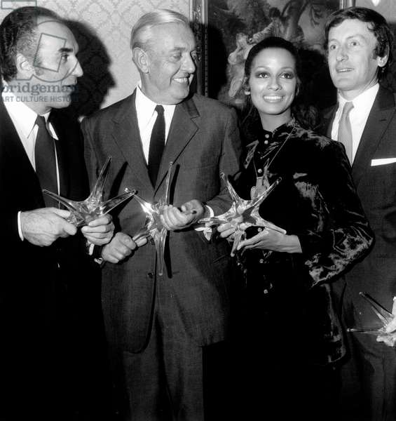Michel Piccoli Jacques Tati Cathy Rosier and Claude Rich Received Crystal Stars Movie Prize October 22, 1968 (b/w photo)