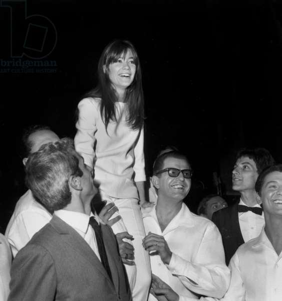 Francoise Hardy After Concert at Olympia October 29, 1965 With Marcel Amont (L) and Hugues Aufray (R) (b/w photo)