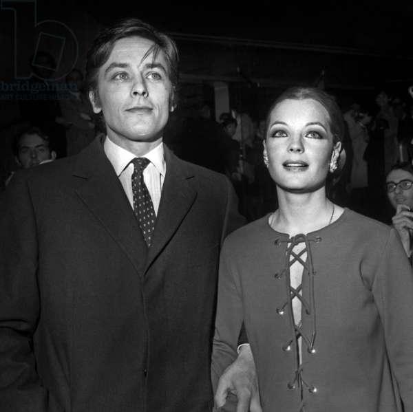 Alain Delon and Romy Schneider at Premiere of Film