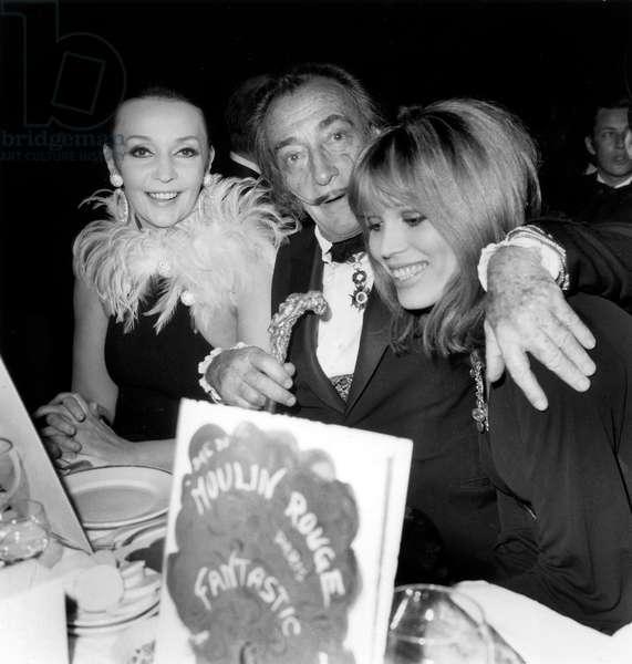 Salvador Dali With Ludmila Tcherina (G) and Amanda Lear (D) in Famous Parisian Cabaret Moulin Rouge April 9, 1970 (b/w photo)