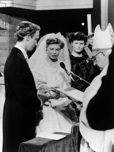 Wedding of princess Marie Astrid of Luxembourg with archduke Carl Christian of Austria (Hasbourg) at cathedral Notre Dame in Luxembourg on february 6, 1982 by bishop of Luxembourg. Background : Margaretha of Luxembourg (sister of bride) (b/w photo)
