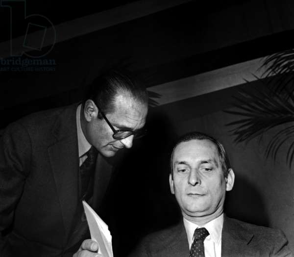 Jacques Chirac and Jerome Monod at Rpr French Right Wing Political Party December 1976 (b/w photo)