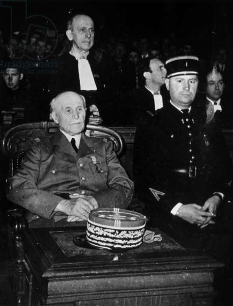 Trial of French Marshal Philippe Petain in Paris July-August 1945 : here Marshal Petain (b/w photo)