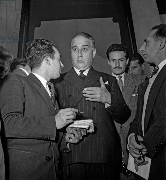 French ministerial crisis in 1949 : at the Elysee, in Paris, French politician Rene Mayer (b/w photo)