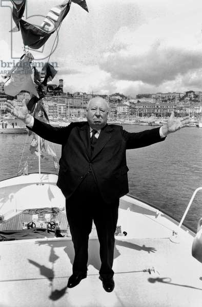 Alfred Hitchcock on A Yacht during Cannes Film Festival May 16, 1972 (b/w photo)