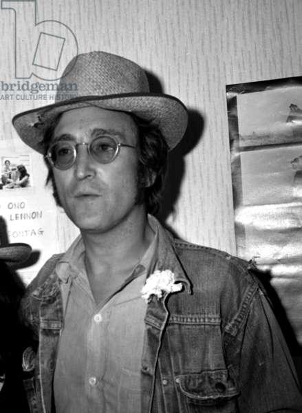 John Lennon at Cannes Festival on May 18, 1971 (b/w photo)