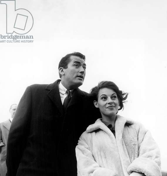 Gregory Peck and his Wife Veronique Passani at Paris Airport, 06/21/59 (b/w photo)