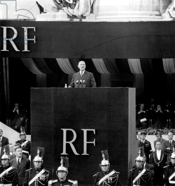 Charles De Gaulle Explaining The Constitution of The 5Th Republic in Paris on September 4, 1958 (b/w photo)