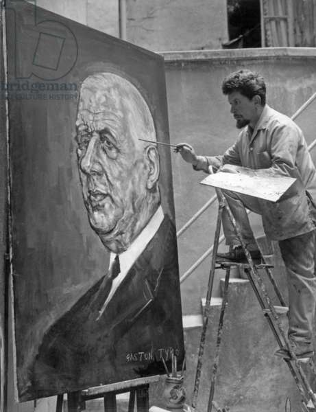 Gaston Tyko, Painter in Montmartre, With Portrait of General Charles De Gaulle August 2, 1966 (b/w photo)