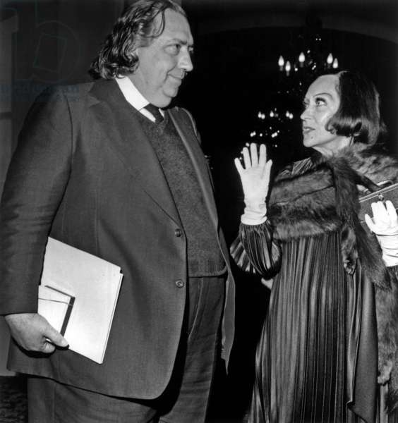 "On May 22, 1974, Gloria Swanson Celebrate her 75 Years Old in Paris With Henri Langlois at The ""Cinematheque Francaise"" (b/w photo)"