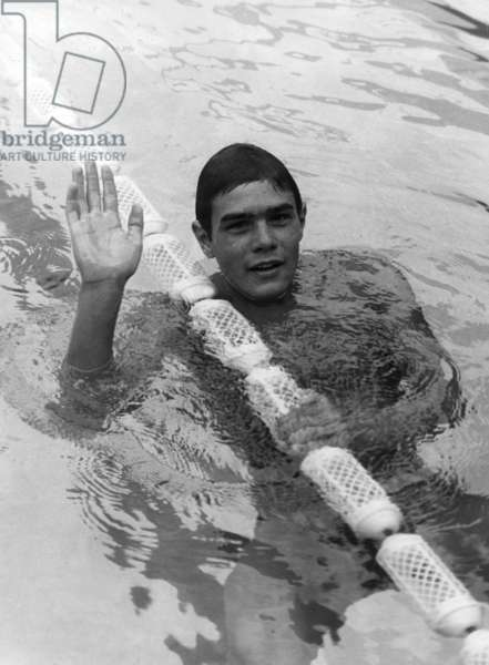 Alain Mosconi Wins ahead of Francis Luyce The 400 Metre National Title Free Swimming at Georges Vallerey Nautique Stadium August 4, 1967 (b/w photo)