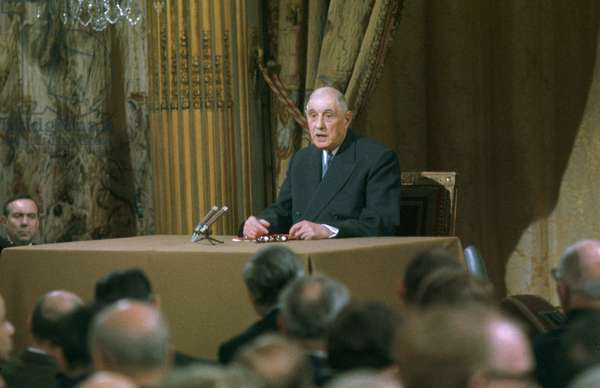 French President Charles De Gaulle during Press Conference November 7, 1967 (photo)
