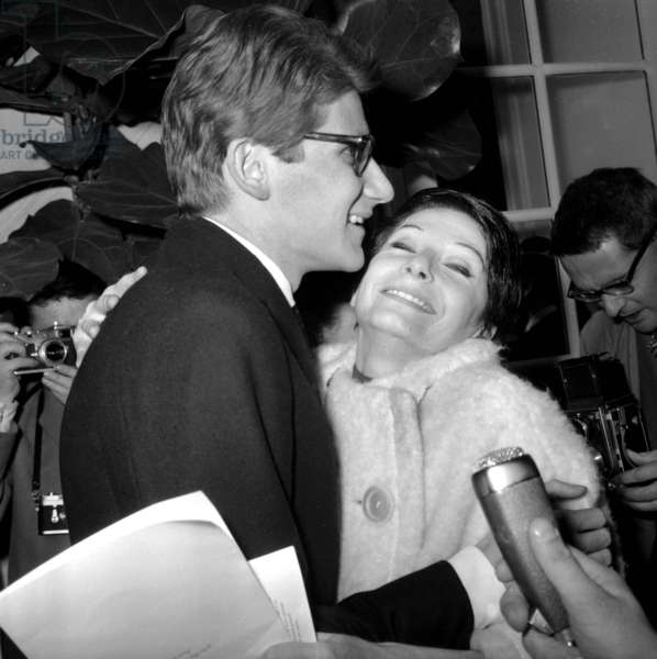 Zizi Jeanmaire Congratulating Yves Saint-Laurent After Presentation of his Own Collection (His Own Label, Ysl) in Paris January 29, 1962 (b/w photo)