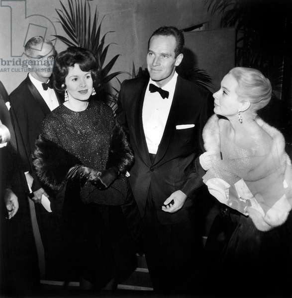 Charlton Heston and his Wife Lydia Clarke With Genevieve Page at Premiere of Film The Cid December 19, 1961 (b/w photo)