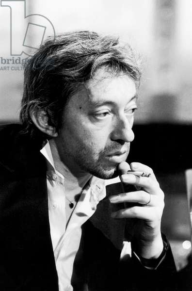 French Singer Serge Gainsbourg during TV Programme on April 28, 1978 (b/w photo)