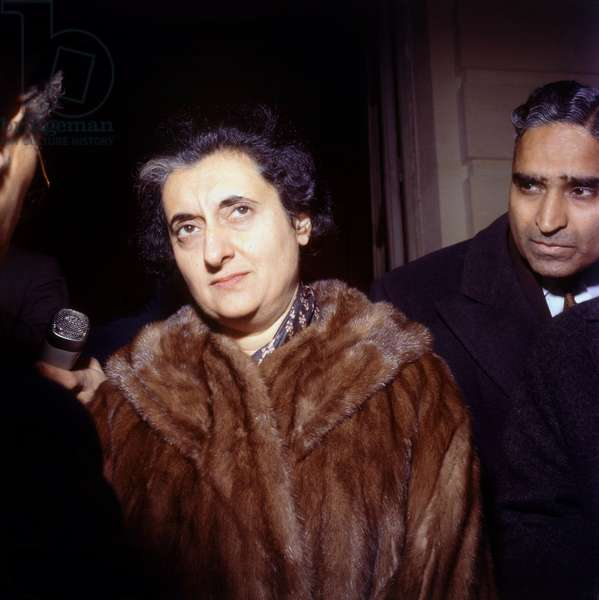 Indira Gandhi, Indian Prime Minister, here in Paris on March 25, 1966 (photo)