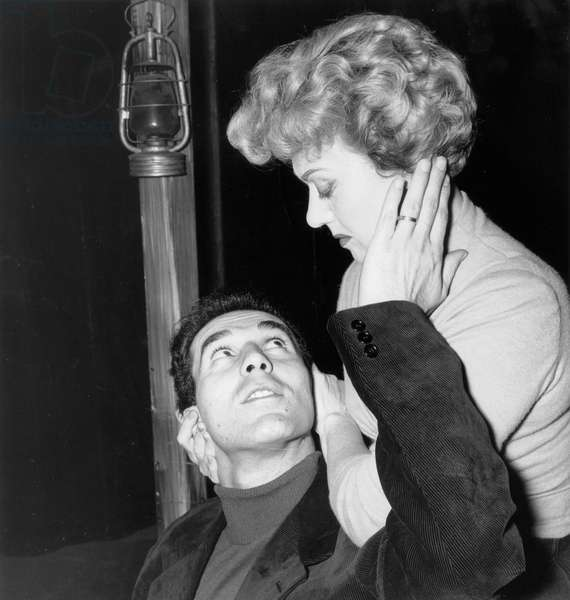 Michel Piccoli and Edwige Feuillere in Play La Reine Des Insurges October 13, 1956 (b/w photo)