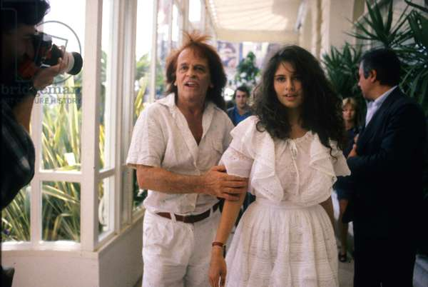 Actor Klaus Kinski and Lover Rebecca at Cannes Film Festival May 1988 (photo)