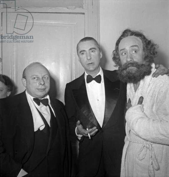 Play Das Kapital By Curzio Malaparte (C) With Pierre Dux (R) As Karl Marx, January 28, 1948, Paris (b/w photo)