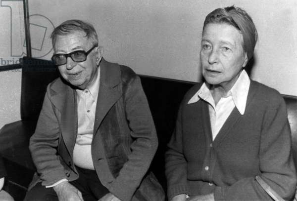 Jean Paul Sartre and Simone De Beauvoir during Press Conference in 1975 (b/w photo)