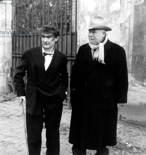 Jean-Louis Barrault and Jean Renoir on Set of Film Le Docteur Cordelier January 29, 1959 (b/w photo)