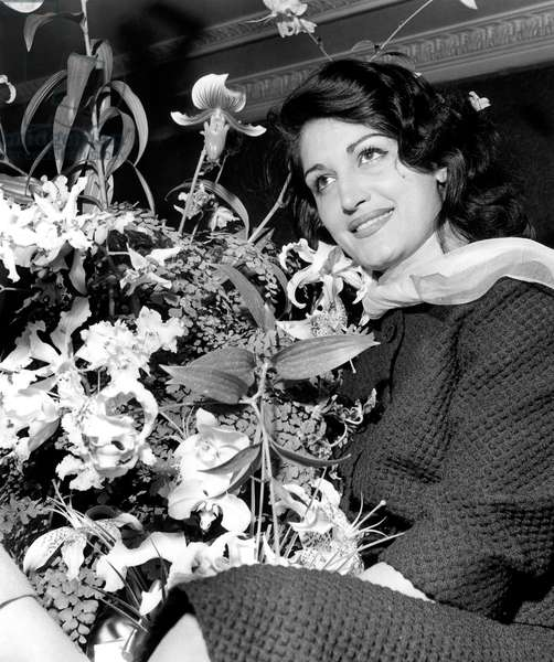 """Singer Dalida during A Cocktail in Paris September 17, 1957 To Celebrate Success of her Song """"Bambino"""" (b/w photo)"""