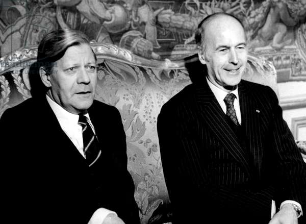 Mr Helmut Schmidt and Mr Valery Giscard D'Estaing during Their Meeting in Paris For The German French Summit 02/21/1979 (b/w photo)