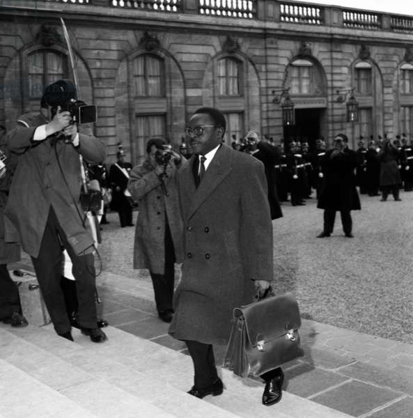 Maurice Yameogo, President of Republic of Upper Volta (Burkina Faso) Arriving at Elysee in Paris To Attend Meeting of Franco-African Community February 3, 1959 (b/w photo)