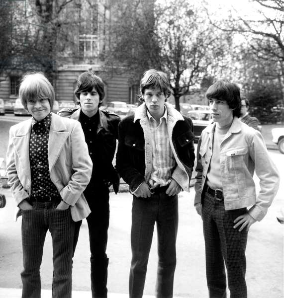 The Rolling Stones March 29, 1966 : Brian Jones, Keith Richard, Mick Jagger and Bill Wyman in Paris (b/w photo)